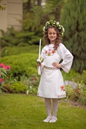 <p>Перше причастя Соломії в дитячому вишитому платті від Oleshchuk</p>