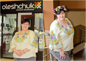 <p>пані Ярослава у ексклюзивній жіночій вишиванці від Oleshchuk</p>